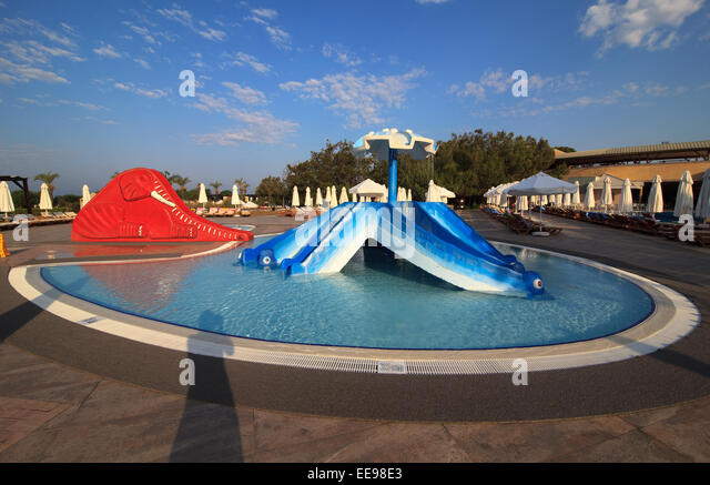 Childrens Pool Water Slide Swimming Stock Photos Childrens Pool Water Slide Swimming Stock