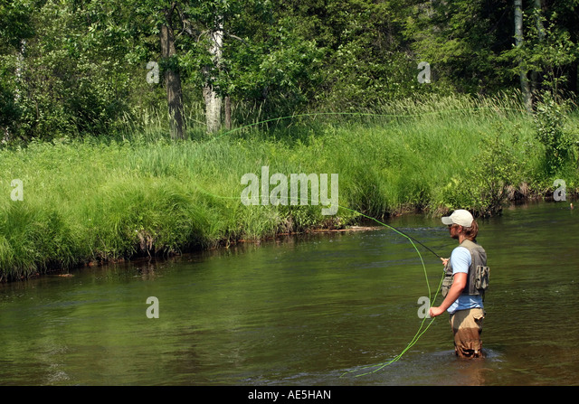 Manistee river michigan stock photos manistee river for Fly fishing michigan
