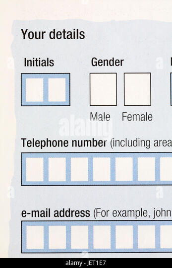 Boxes on form to complete for gender with options of male or female, initials, telephone number and e-mail address - Stock Image