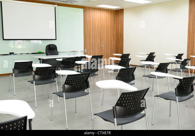 Modern Classroom Furniture ~ Empty seat class stock photos
