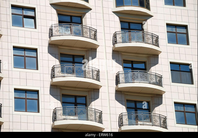 The Facade Of A Modern Apartment Building   Stock Image