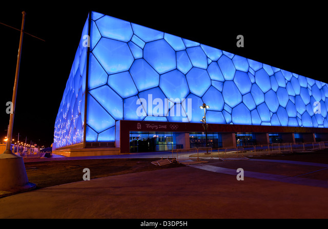 Olympic swimming pool beijing stock photos olympic swimming pool beijing stock images alamy for Beijing swimming pool olympics