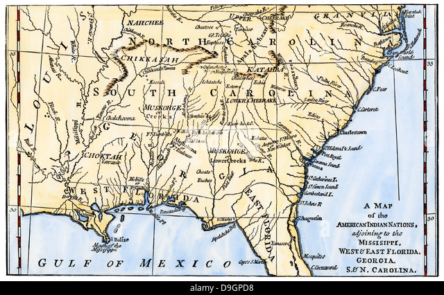 Map Of Southeastern Native American Nations About 1776 Stock Image