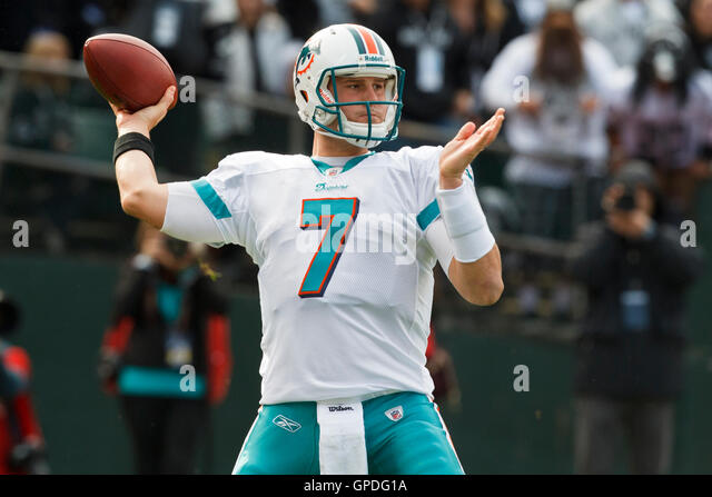 55a3328df November 28, 2010 Oakland, CA, USA Miami Dolphins quarterback Chad Henne ...