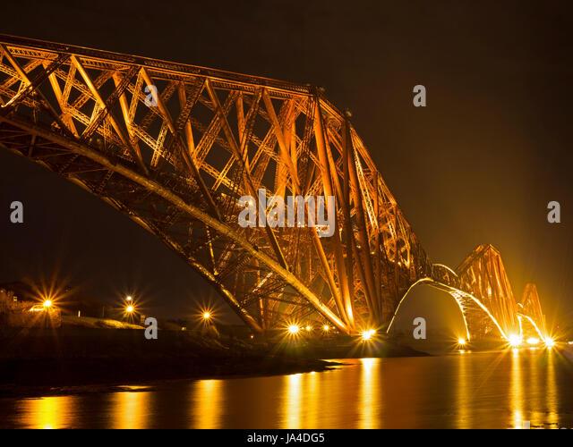 Forth Bridge at night - Stock Image