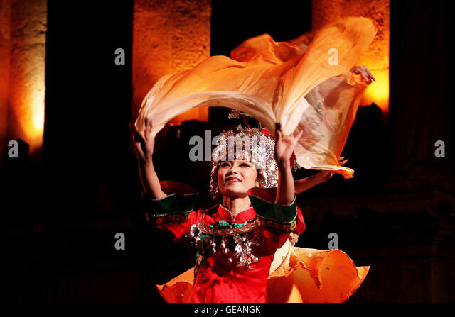 jerash jordan 24th july 2016 a chinese dancer performs during the geangk during annual roman festival stock photos & during annual roman  at gsmx.co