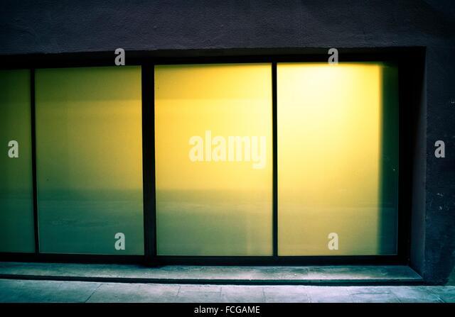 Translucent glass door lit inside. Barcelona Catalonia Spain. - Stock Image & Translucent Glass Door Stock Photos u0026 Translucent Glass Door Stock ... pezcame.com