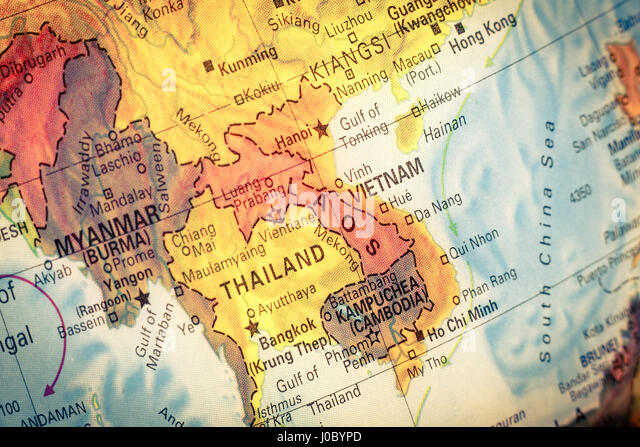 Vietnam cambodia thailand map stock photos vietnam cambodia vintage map kampuchea cambodia close up macro image of south east asia map gumiabroncs Choice Image