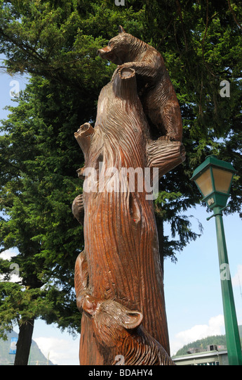 Wooden carved sculpture bald eagle stock photos