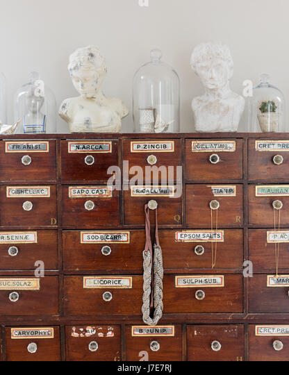 Glass Bell Jars And Plaster Busts On Top Of Antique Apothecary Cabinet    Stock Image