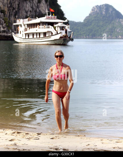 Bay bikini boat girl swim trip all clear