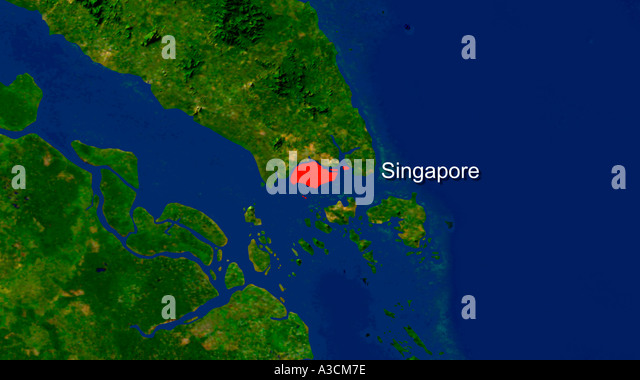 Map of singapore stock photos map of singapore stock images alamy satellite image of singapore highlighted red stock image publicscrutiny Images