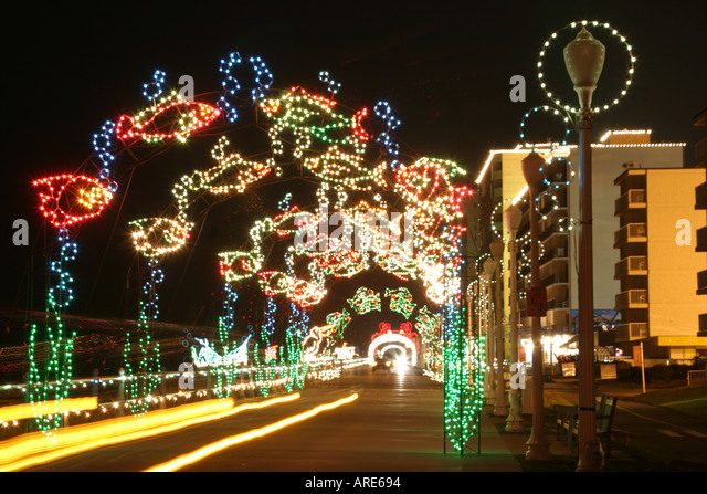 virginia beach virginia atlantic shore oceanfront holiday lights display boardwalk drive through stock image - Christmas Lights Virginia Beach
