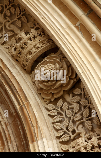 Crown and rose carving stock photos