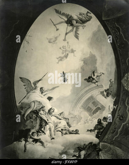 Frescoes on the ceiling of Palazzo Rezzonico, by G.B. Tiepolo, Venice, Italy - Stock Image