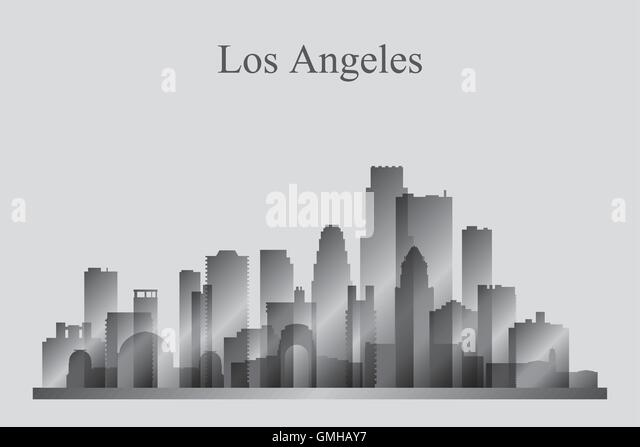 los angeles city skyline silhouette in grayscale stock vector