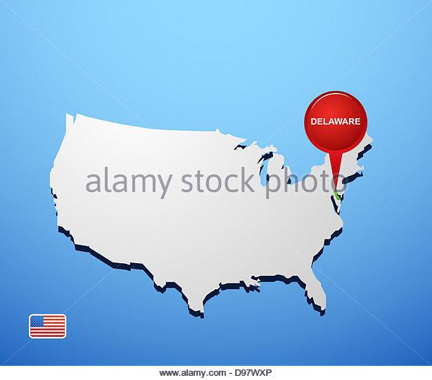 Delaware Flag Button Stock Photos Delaware Flag Button Stock - Delaware usa map