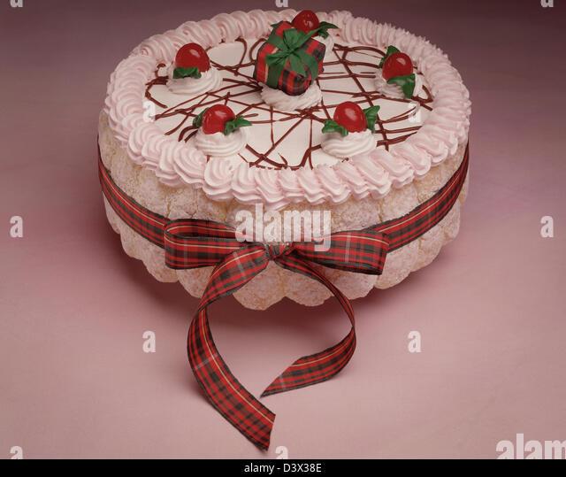 Delicious Tiramisu Birthday Cake Cherries Stock Photos Delicious