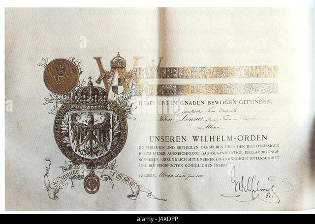 Verleihungsurkunde Zum Wilhelms Orden 1893 Stock Photos ...