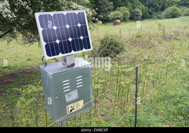 solar powered electric fence park gate down nature reserve kent england stock