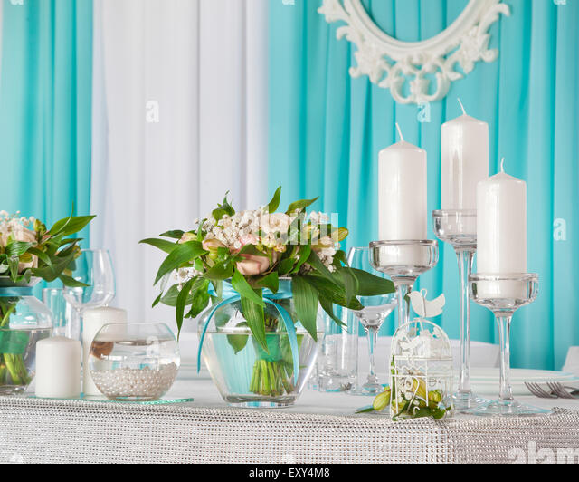 Beautiful Decorations On Wedding Table For Bride And Groom.   Stock Image