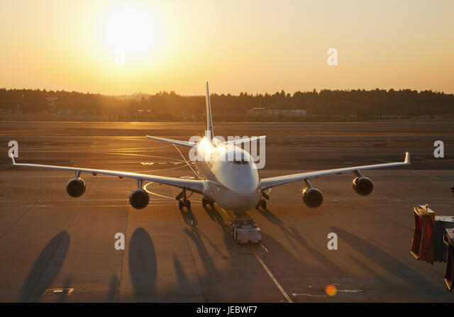 Japan, Tokyo, Narita Internationally airport, landing field, airplane, evening light, airport, outside, travel, - Stock Image