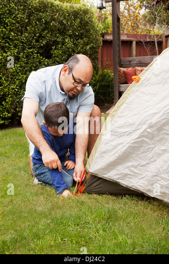 A Father And Son Pitch A Tent In The Backyard; Pacifica California United  sc 1 st  Alamy & Tent Pegs Stock Photos u0026 Tent Pegs Stock Images - Alamy