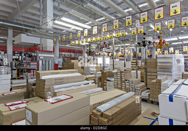 Packaged warehouse store goods   Stock Image. Home Goods Store Stock Photos   Home Goods Store Stock Images   Alamy