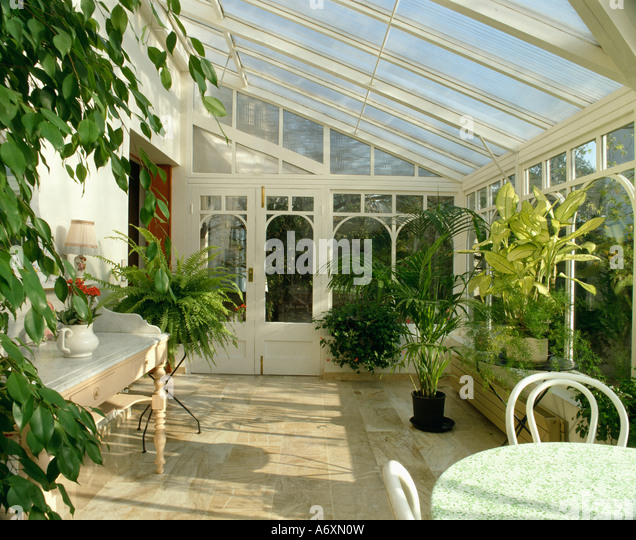 Conservatory Diningroom With Houseplants And Marble Floor Traditional Dining Table Chairs