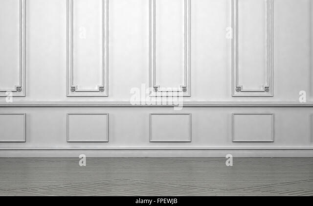 Empty Room Interior With Classic Wainscoting Of Ornamental White Wooden  Wall Paneling In An Architectural Background