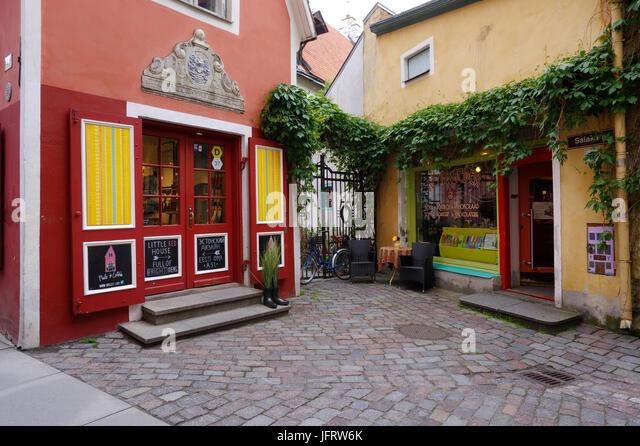 Small Shops in Saiakang street in Old Town of Tallinn, Estonia, 2th July 2017 - Stock Image