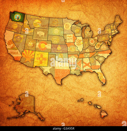 Washington State Map Stock Photos Washington State Map Stock - Washington on map of usa