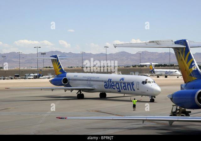 allegiant air passenger jets at las vegas airport  nevada
