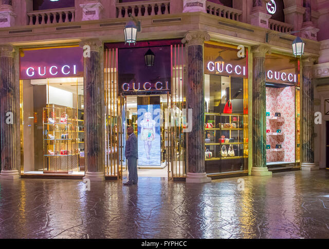 gucci storefront. exterior of a gucci store in caesars palace hotel las vegas - stock image storefront