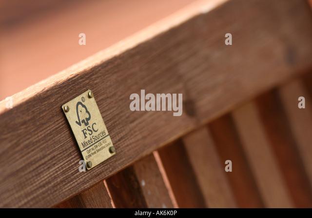 FSC logo on garden furniture   Stock Image. Fsc Wood Furniture Stock Photos   Fsc Wood Furniture Stock Images
