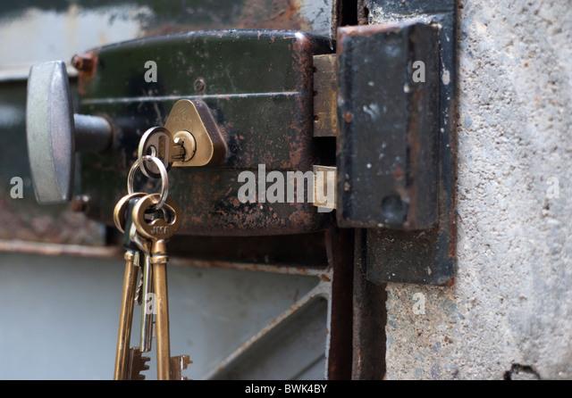 Keys In Old Metal Door Lock   Stock Image