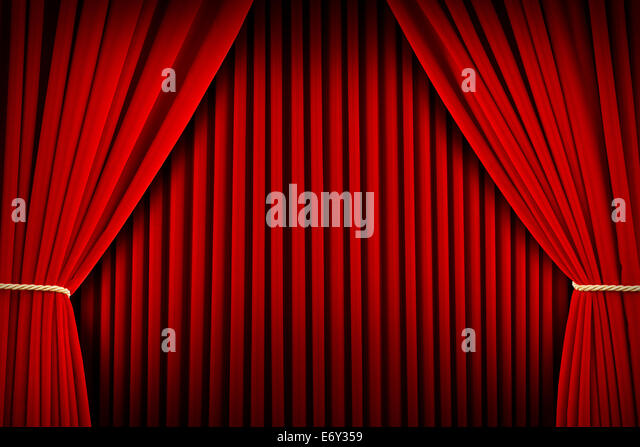 Red Velvet Theater Curtains Pulled Open With Backdrop.   Stock Image