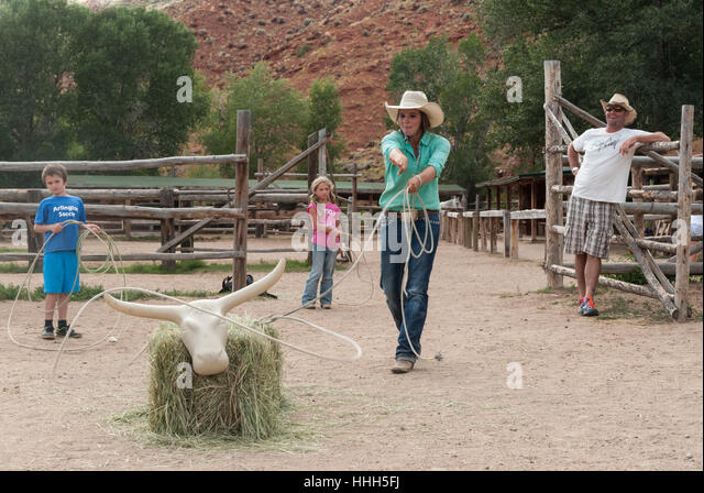 roping practice at the lazy lu0026b dude ranch in dubois wyoming wrangler lassos a