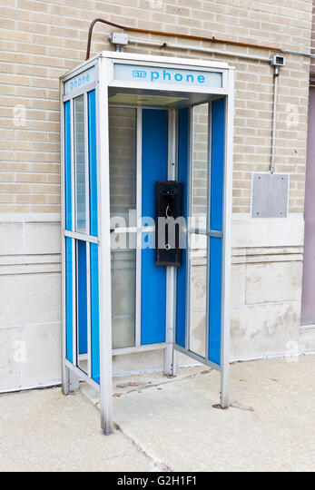 logansport in circa march abandoned gte phone booth ii stock image