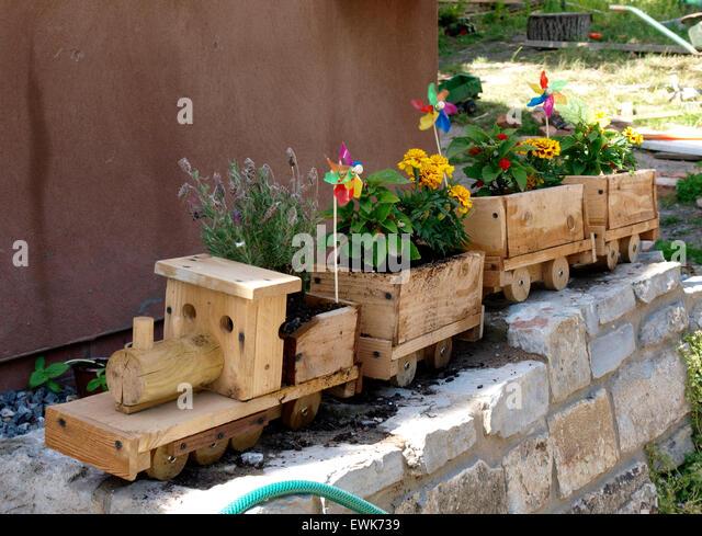 Wooden Train Set Garden Planter, Somerset, UK   Stock Image