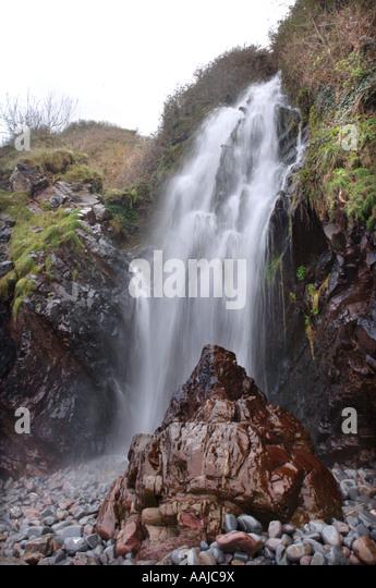 waterfall small sami fishing village norway waterfall near the ...