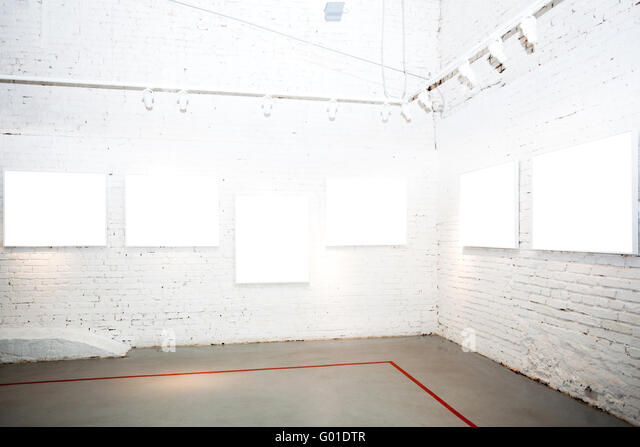 Brick white walls in museum stock photos brick white walls in brick white walls in museum with empty frames stock image sciox Images