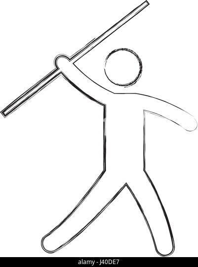 silhouette of athlete practicing javelin throw stock image