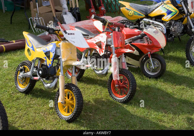 Mini Motorbikes For Sale, August 2006, UK Stock Image