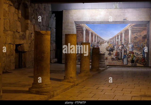 Jewish quarter cardo jerusalem israel stock photos for Ancient roman mural