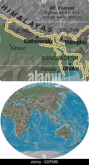 Nepal bhutan bangladesh himalayas asia stock photos nepal bhutan nepal bhutan bangladesh himalayas and asia oceania map stock image gumiabroncs Gallery