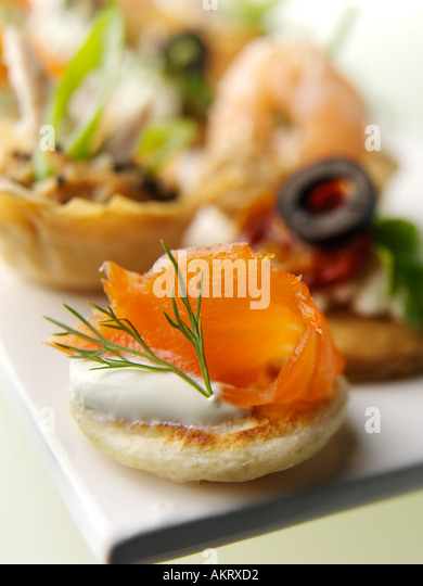 Smoked salmon appetizers stock photos smoked salmon for Canape selection