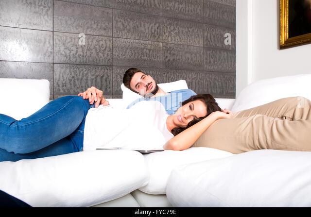 wife sleeping on sofa