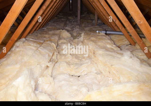 Glass wool insulation stock photos glass wool insulation for Wool house insulation