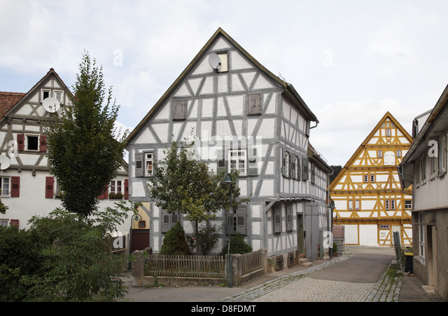 germany baden wuerttemberg waiblingen timbered house peaceful stock photo picture and. Black Bedroom Furniture Sets. Home Design Ideas